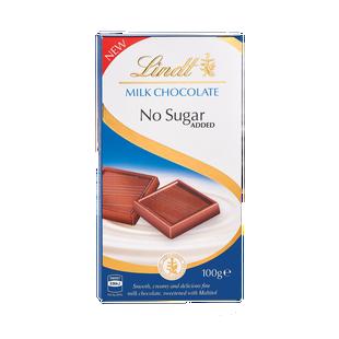 Lindt Milk No Added Sugar Bar 100g