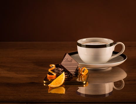 Lindt Excellence Orange Intense Chocolate pairing with Macchiato